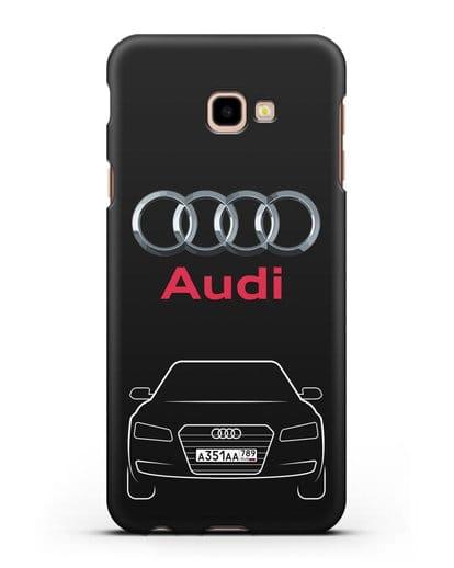 Чехол Audi A8 с номерным знаком силикон черный для Samsung Galaxy J4 Plus [SM-J415]