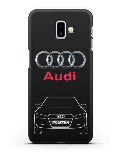 Чехол Audi A8 с номерным знаком силикон черный для Samsung Galaxy J6 Plus [SM-J610F]