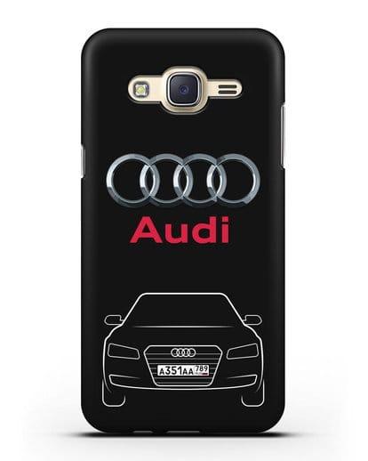 Чехол Audi A8 с номерным знаком силикон черный для Samsung Galaxy J7 2015 [SM-J700H]