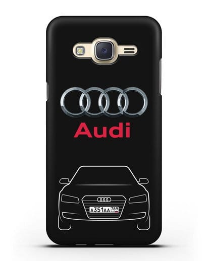 Чехол Audi A8 с номерным знаком силикон черный для Samsung Galaxy J7 Neo [SM-J701F]