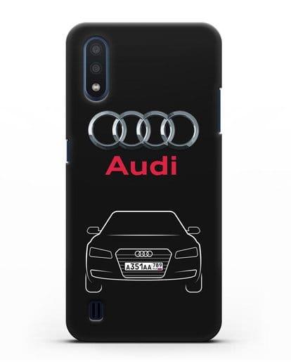 Чехол Audi A8 с номерным знаком силикон черный для Samsung Galaxy M01 [SM-M015F]