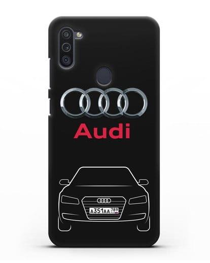 Чехол Audi A8 с номерным знаком силикон черный для Samsung Galaxy M11 [SM-M115F]