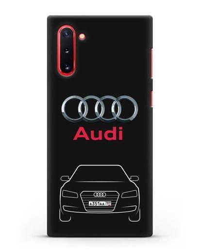 Чехол Audi A8 с номерным знаком силикон черный для Samsung Galaxy Note 10 [N970F]
