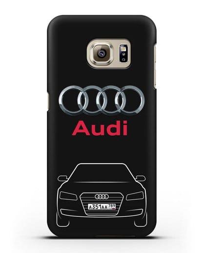 Чехол Audi A8 с номерным знаком силикон черный для Samsung Galaxy S6 Edge [SM-G925F]