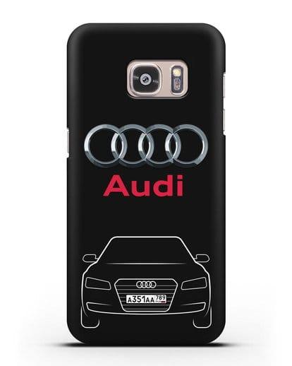 Чехол Audi A8 с номерным знаком силикон черный для Samsung Galaxy S7 Edge [SM-G935F]