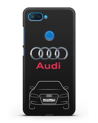 Чехол Audi A8 с номерным знаком силикон черный для Xiaomi Mi 8 Lite