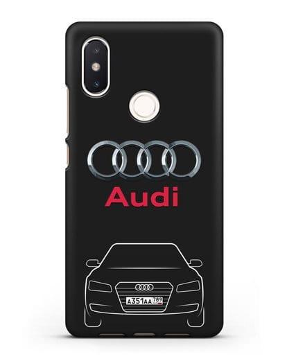 Чехол Audi A8 с номерным знаком силикон черный для Xiaomi Mi 8 SE