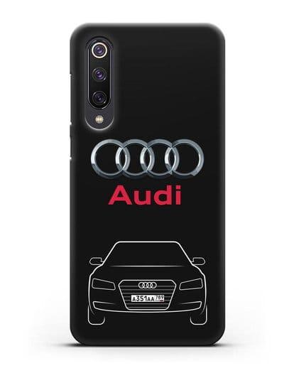Чехол Audi A8 с номерным знаком силикон черный для Xiaomi Mi 9 SE