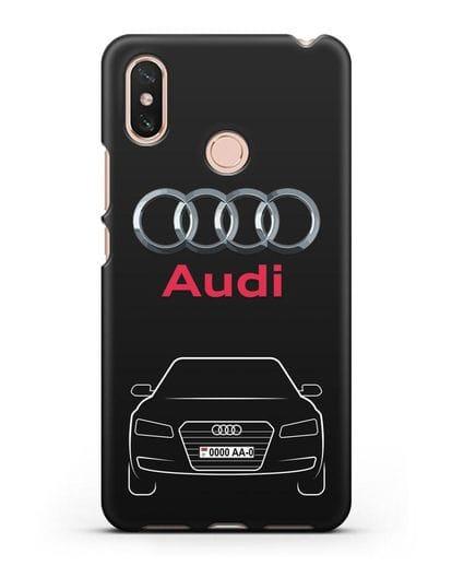Чехол Audi A8 с номерным знаком силикон черный для Xiaomi Mi Max 3