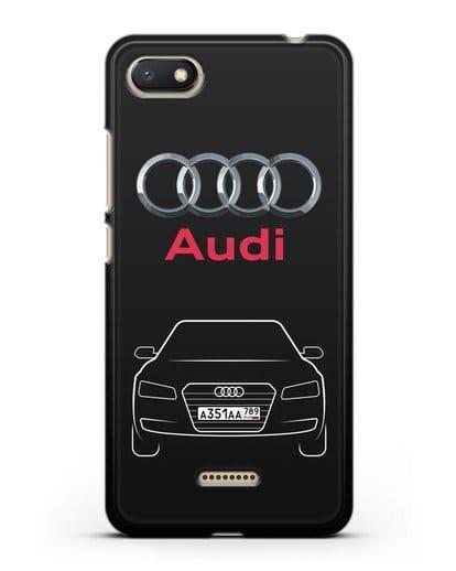 Чехол Audi A8 с номерным знаком силикон черный для Xiaomi Redmi 6A