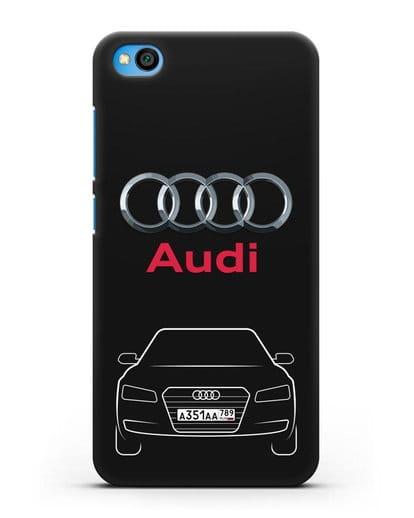 Чехол Audi A8 с номерным знаком силикон черный для Xiaomi Redmi Go