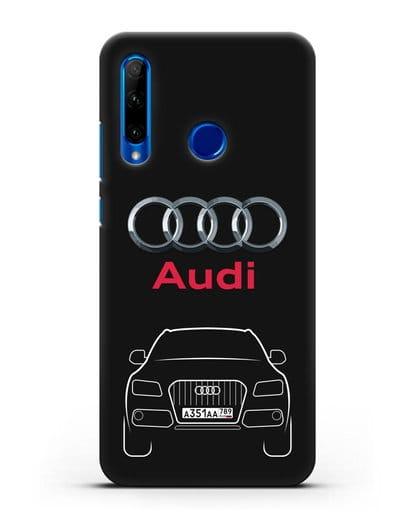 Чехол Audi Q5 с номерным знаком силикон черный для Honor 10i
