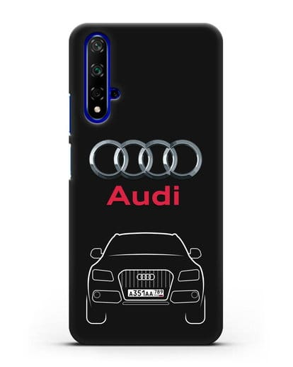 Чехол Audi Q5 с номерным знаком силикон черный для Honor 20