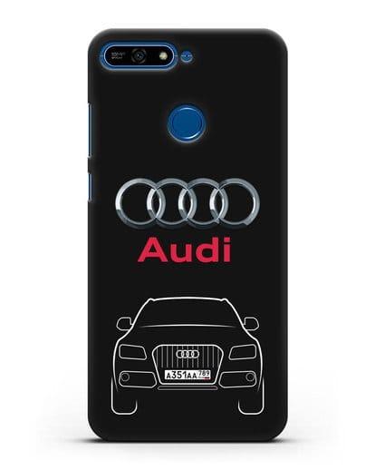 Чехол Audi Q5 с номерным знаком силикон черный для Honor 7А Pro