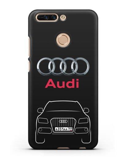 Чехол Audi Q5 с номерным знаком силикон черный для Honor 8 Pro