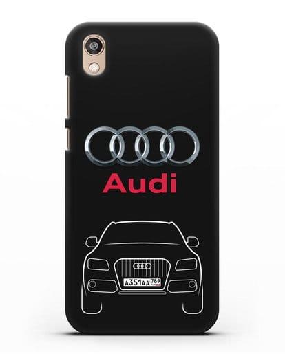 Чехол Audi Q5 с номерным знаком силикон черный для Honor 8S Prime