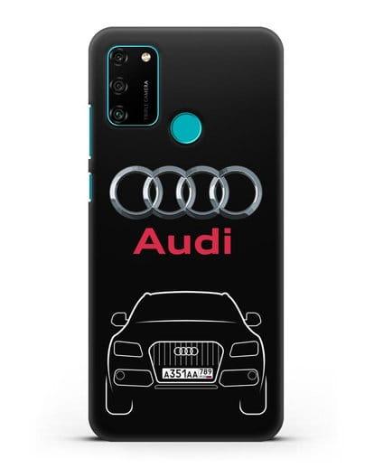 Чехол Audi Q5 с номерным знаком силикон черный для Honor 9A