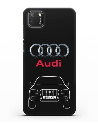 Чехол Audi Q5 с номерным знаком силикон черный для Honor 9S