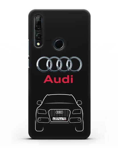 Чехол Audi Q5 с номерным знаком силикон черный для Honor 9X