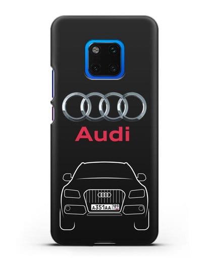 Чехол Audi Q5 с номерным знаком силикон черный для Huawei Mate 20 Pro