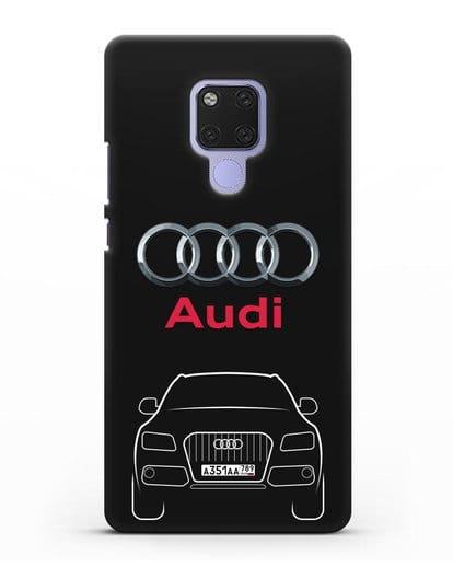 Чехол Audi Q5 с номерным знаком силикон черный для Huawei Mate 20X