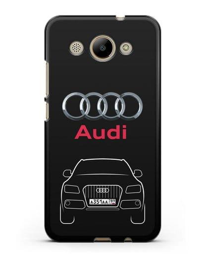 Чехол Audi Q5 с номерным знаком силикон черный для Huawei Y3 2017