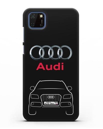 Чехол Audi Q5 с номерным знаком силикон черный для Huawei Y5P