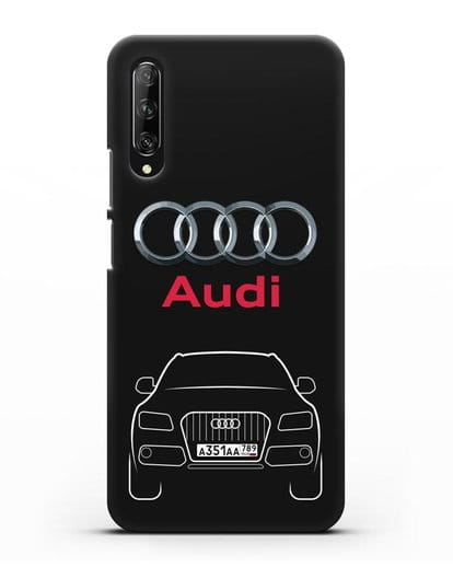 Чехол Audi Q5 с номерным знаком силикон черный для Huawei Y9s
