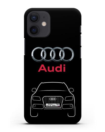 Чехол Audi Q5 с номерным знаком силикон черный для iPhone 12 mini