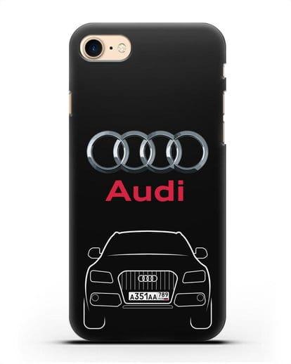 Чехол Audi Q5 с номерным знаком силикон черный для iPhone 8
