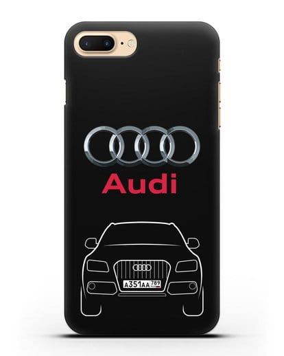 Чехол Audi Q5 с номерным знаком силикон черный для iPhone 7 Plus