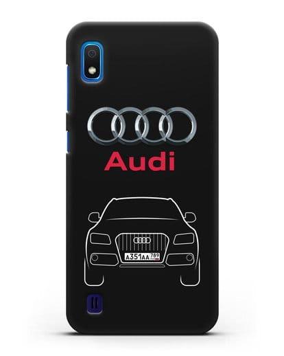 Чехол Audi Q5 с номерным знаком силикон черный для Samsung Galaxy A10 [SM-A105F]