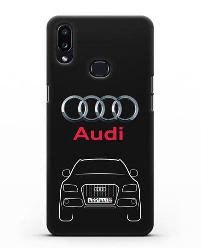 Чехол Audi Q5 с номерным знаком силикон черный для Samsung Galaxy A10s [SM-F107F]