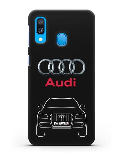 Чехол Audi Q5 с номерным знаком силикон черный для Samsung Galaxy A40 [SM-A405F]