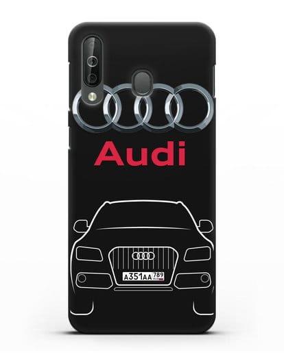 Чехол Audi Q5 с номерным знаком силикон черный для Samsung Galaxy A40s [SM-A507FN]