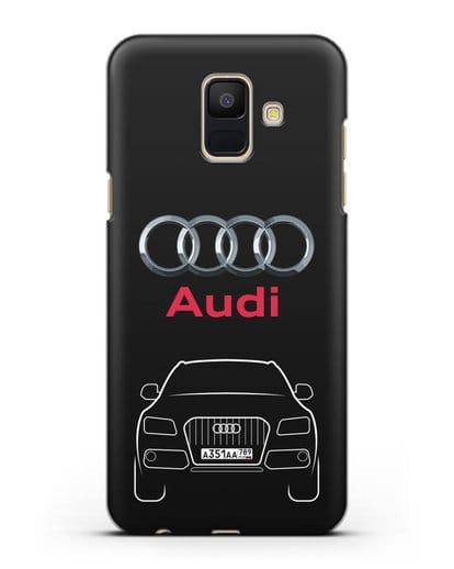Чехол Audi Q5 с номерным знаком силикон черный для Samsung Galaxy A6 2018 [SM-A600F]