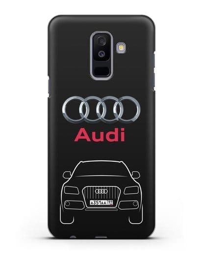 Чехол Audi Q5 с номерным знаком силикон черный для Samsung Galaxy A6 Plus 2018 [SM-A605F]