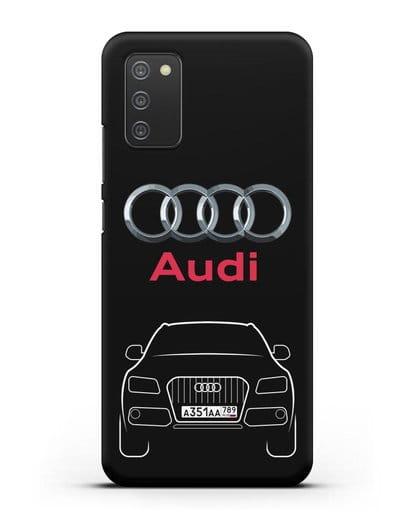 Чехол Audi Q5 с номерным знаком силикон черный для Samsung Galaxy A02s [SM-A025F]