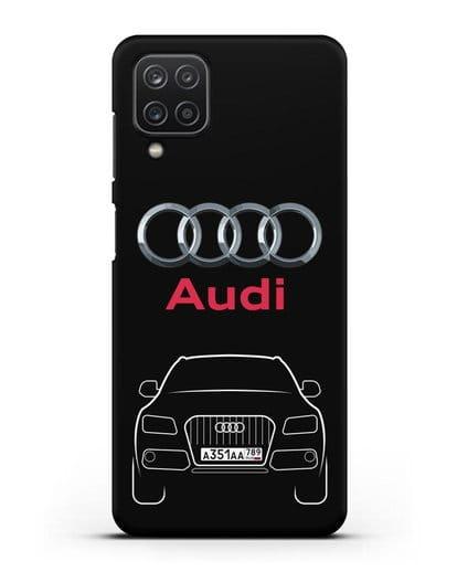Чехол Audi Q5 с номерным знаком силикон черный для Samsung Galaxy A12 [SM-A125F]