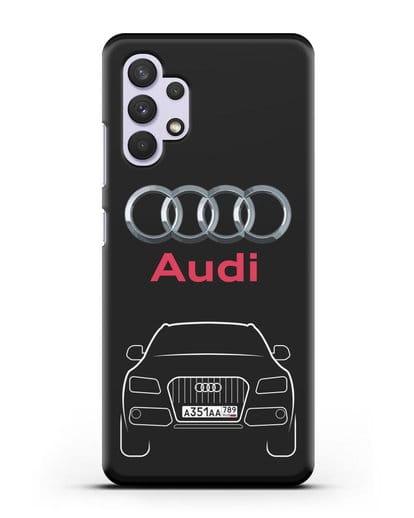 Чехол Audi Q5 с номерным знаком силикон черный для Samsung Galaxy A32 4G [SM-A325F]