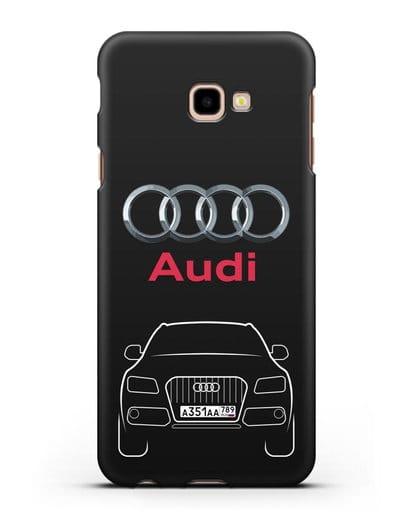 Чехол Audi Q5 с номерным знаком силикон черный для Samsung Galaxy J4 Plus [SM-J415]