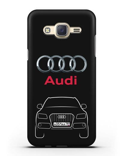 Чехол Audi Q5 с номерным знаком силикон черный для Samsung Galaxy J7 2015 [SM-J700H]