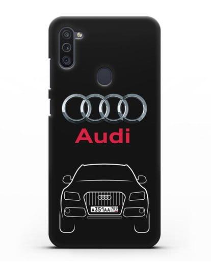 Чехол Audi Q5 с номерным знаком силикон черный для Samsung Galaxy M11 [SM-M115F]