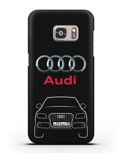 Чехол Audi Q5 с номерным знаком силикон черный для Samsung Galaxy S7 [SM-G930F]