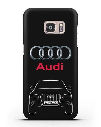 Чехол Audi Q5 с номерным знаком силикон черный для Samsung Galaxy S7 Edge [SM-G935F]