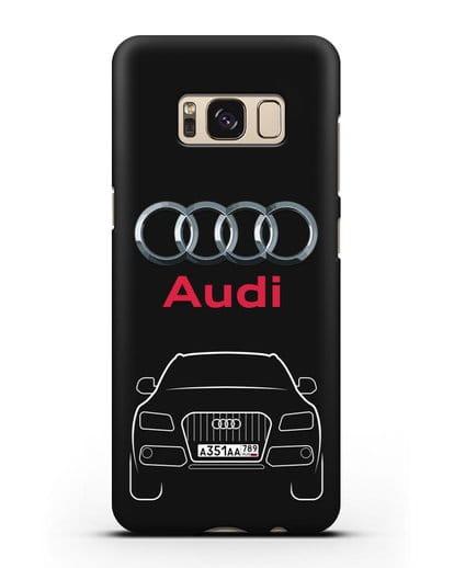 Чехол Audi Q5 с номерным знаком силикон черный для Samsung Galaxy S8 Plus [SM-G955F]