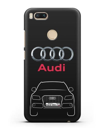 Чехол Audi Q5 с номерным знаком силикон черный для Xiaomi Mi 5X