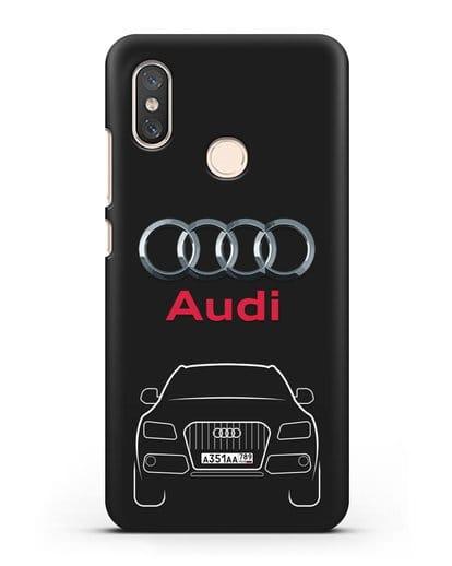 Чехол Audi Q5 с номерным знаком силикон черный для Xiaomi Mi 8
