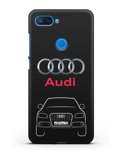 Чехол Audi Q5 с номерным знаком силикон черный для Xiaomi Mi 8 Lite