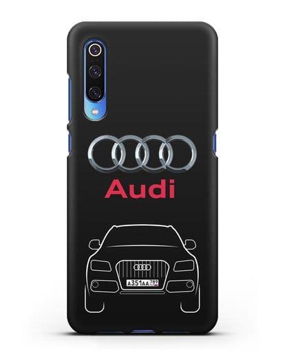 Чехол Audi Q5 с номерным знаком силикон черный для Xiaomi Mi 9